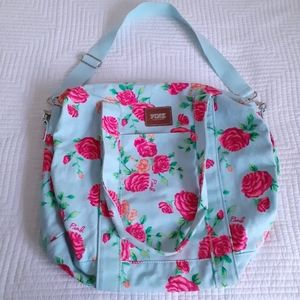 Victoria Secret Pink Aqua Rose Tote